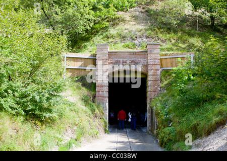 The entrance to Moensted limestone caves near Viborg Denmark - Stock Image
