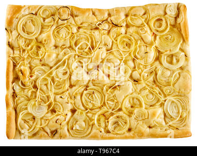 Italian Focaccia bread topped with thinly sliced onion rings and seasoning viewed from overhead isolated on white - Stock Image