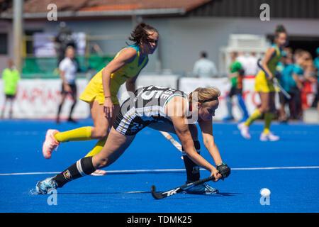 Krefeld, Germany, June 16 2019, hockey, women, FIH Pro League, Germany vs. Australia:  Viktoria Huse (Germany) hits the ball. - Stock Image