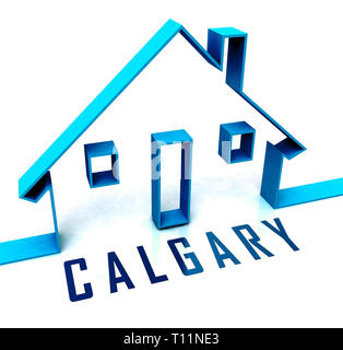 Calgary Real Estate Icon Shows Property For Sale Or Rent In Alberta. Investment Agents Or Brokers Symbol 3d Illustration - Stock Image