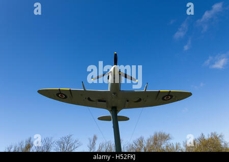 The replica of Spitfire W3644 at Lytham St Annes, Lancashire. The original aircraft was purchased by funds raised - Stock Image
