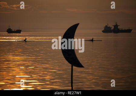The sculpture 'Moon' by Pavlos Vasiliadis artist, at the seafront of Thessaloniki, Greece on January 18, 2019. - Stock Image