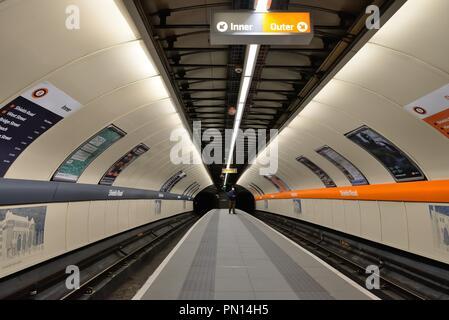 Modernised and refurbished Shields Road, Glasgow underground station in Scotland, UK - Stock Image