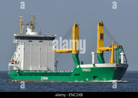 General Cargo Ship Timbus with a big scrubber in front of the superstructure. - Stock Image