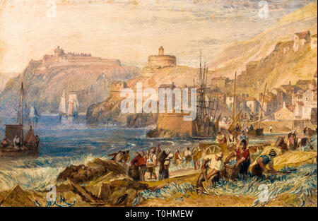 JMW Turner, St. Mawes, Cornwall, watercolour painting, circa 1823 - Stock Image