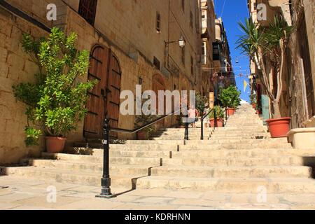 St Lucia Street (Triq Santa Lucija) in Valletta, Malta, Europe - Stock Image