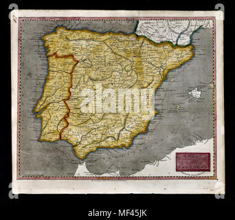 1804 Arrowsmith Map - Spain & Portugal - Lisbon Lisboa Braga Porto Oporto Algarve Madrid Barcelona Cadiz Toledo Europe - Stock Image