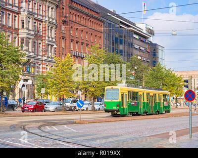 20 September 2018: Helsinki, Finland - Tram in the central city. - Stock Image