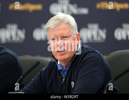 Portrush, County Antrim, Northern Ireland. 17th July 2019. The 148th Open Golf Championship, Royal Portrush Golf Club, Practice day ; Martin Slumbers, CEO of the Royal and Ancient Golf Club of St Andrews, answers a question about the Royal Portrush course during a press conference Credit: Action Plus Sports Images/Alamy Live News - Stock Image
