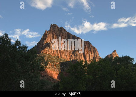 Late afternoon light on The Watchman at Zion National Park Utah USA - Stock Image