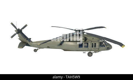 Helicopter in flight, military aircraft, army chopper isolated on white background, side view, 3D rendering - Stock Image