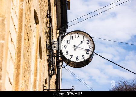 Bradford on Avon A clock commemorating the coronation of Queen Elizabeth 2nds originally from Westbury house now affixed to St Margarets hall - Stock Image