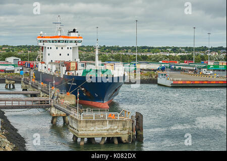 Freighter in Dublin Port awaiting departure - Stock Image