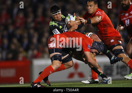 Tokyo, Japan. 19th Apr, 2019. Reed Prinsep (Hurricanes) Rugby : 2019 Super Rugby match between Sunwolves 23-29 Hurricanes at Prince Chichibu Memorial Stadium in Tokyo, Japan . Credit: YUTAKA/AFLO SPORT/Alamy Live News - Stock Image