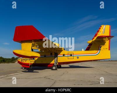 Canadair CL-415 877 aircraft Croatian Air Force HRZ Croatia Zemunik near Zadar - Stock Image