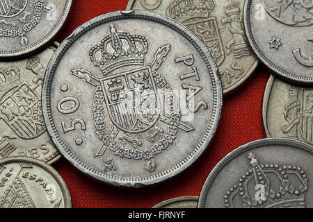 Coins of Spain. Coat of arms of Spain depicted in the Spanish 50 peseta coin (1982). - Stock Image