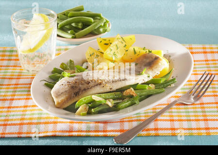Matjes herrings with French beans and potatoes - Stock Image
