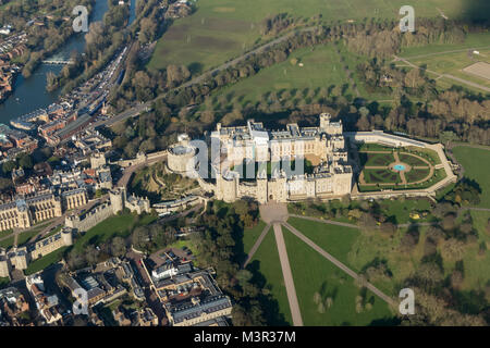 Aerial view of Windsor Castle from the South - Stock Image