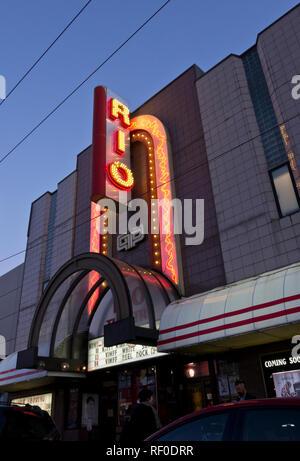 Rio Theatre or Rio Cinema in East Vancouver, BC, Canada. - Stock Image