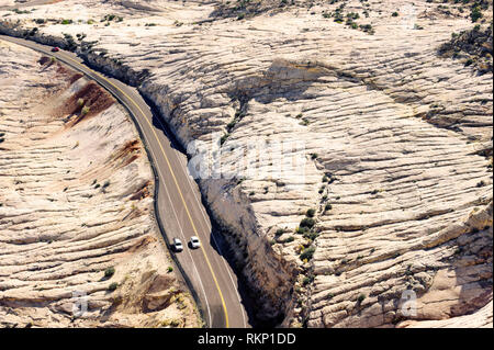 Scenic Byway 12 near Escalante, Utah, USA. .Seen from the Head of the Rocks overlook. - Stock Image