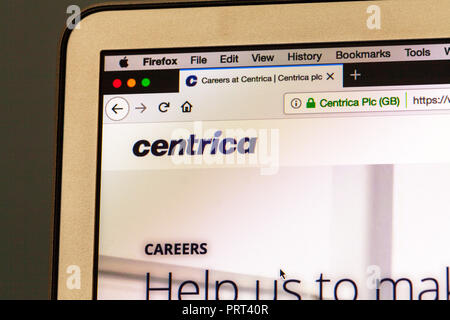 Centrica, Centrica website, Centrica logo, Centrica homepage, Centrica Electric services company, Centrica plc, Centrica energy company, UK energy, UK - Stock Image