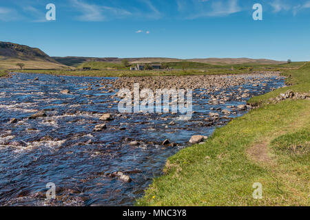 North Pennines landscape, the confluence of the river Tees and Harwood Beck, Upper Teesdale, UK - Stock Image