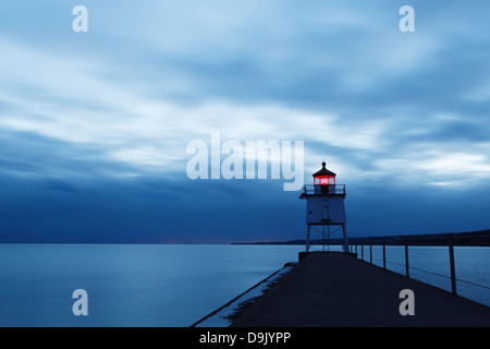 Lighthouse at dusk - Two Harbors, Minnesota. - Stock Image
