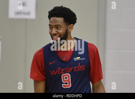 London, UK. 16th Jan, 2019. US basketball player Chasson Randle is seen during a training session of the Washington Wizards team in London, Britain, on January 16, 2019. Credit: David Svab/CTK Photo/Alamy Live News - Stock Image