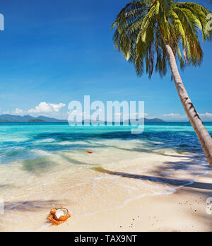 Tropical beach with coconut palms, Whai island, Thailand - Stock Image
