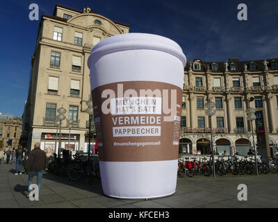 Campaign Anti-Waste-Paper Cup action Munich Germany Europe Vermeide Pappbecher Munich against Waste Rubbish Garbage - Stock Image