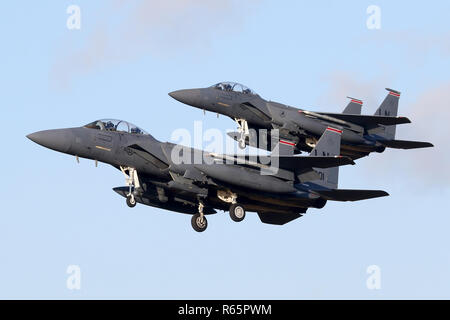 Pairs approach by a two ship of Lakenheath based F-15E Strike Eagles assigned to the resident 48th Fighter Wing. - Stock Image