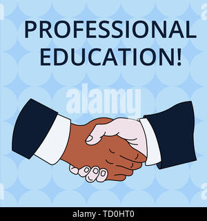 Word writing text Professional Education. Business photo showcasing Continuing Education Units Specialized Training Hand Shake Multiracial Male Busine - Stock Image