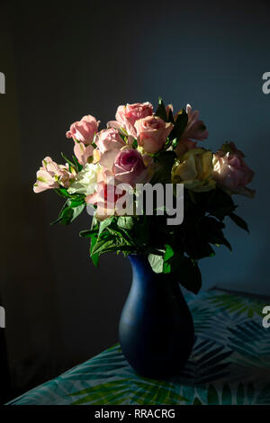 A bunch of roses in a blue vase on a table indoors lit by late evening sunlight - Stock Image