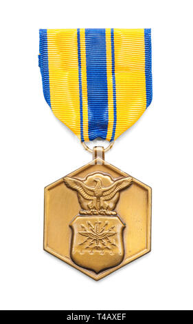 Air Force Commendation Medal Isolated on White Background. - Stock Image