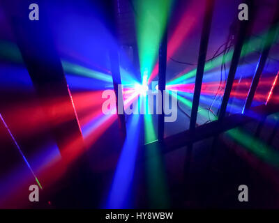 "Disco lighting in a prison cell at ""Fantazia meets Raindance"" Rave held in a disused Crown Court building in central - Stock Image"