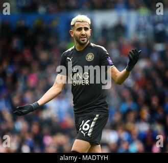 Riyad Mahrez of Leicester during the Premier League match between Brighton and Hove Albion and Leicester City at the American Express Community Stadium in Brighton and Hove. 31 Mar 2018 *** Editorial use only. No merchandising. For Football images FA and Premier League restrictions apply inc. no internet/mobile usage without FAPL license - for details contact Football Dataco *** - Stock Image