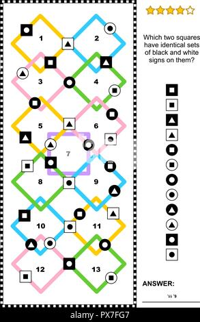 IQ training abstract visual puzzle (suitable both for kids and adults): Which two squares have identical sets of black and white signs on them? - Stock Image
