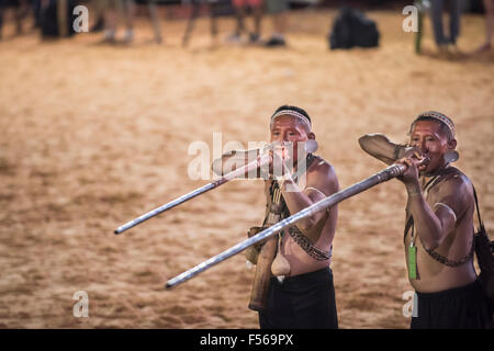 Palmas, Brazil. 27th Oct, 2015. Two Matis warriors demonstrate the use of blowpipes, their traditional hunting weapon, - Stock Image