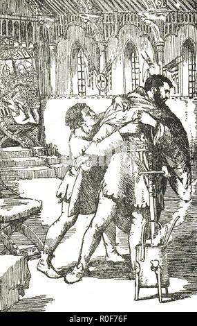 Prince Arthur, Arthur I, Duke of Brittany, begging for his life, pleading with his jailer William de Braose, Rouen Castle, France, circa 1203 - Stock Image