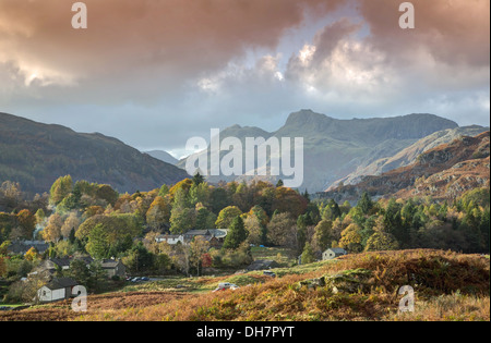 Autumn in the valley of Elterwater - Stock Image