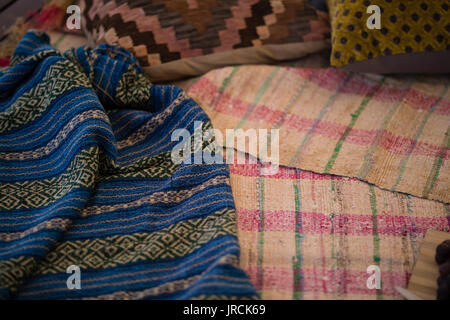Close-up of picnic blanket - Stock Image