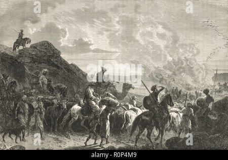 Hill tribe march, Indian Famine of 1876-78 - Stock Image