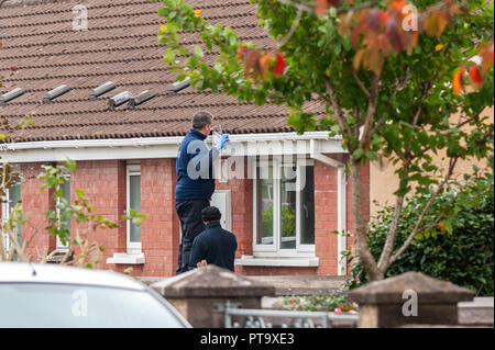 Macroom, West Cork, Ireland. 8th Oct, 2018. A Garda searches a gutter opposite the home of the murder victim who has been named locally as 44 year old Timmy Foley. Credit: Andy Gibson/Alamy Live News. - Stock Image