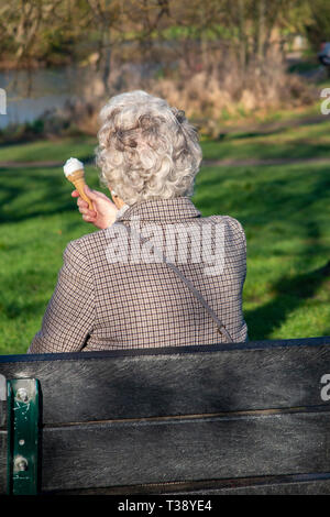 A glamorous grey haired lady enjoys an ice cream on a park bench - Stock Image