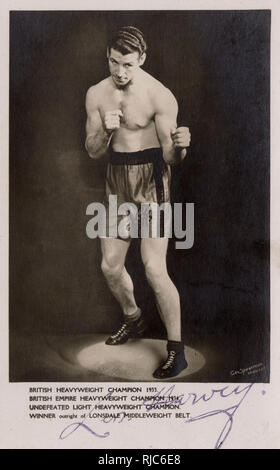 British Heavyweight Champion Len Harvey (1906-1976) - became champion in 1933, won the British Empire Heavyweight Championship in 1934 - undefeated light heavyweight champion and winner of the Lonsdale Middleweight Belt. - Stock Image
