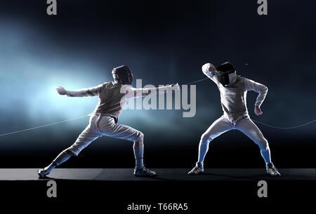 Men fencing - Stock Image