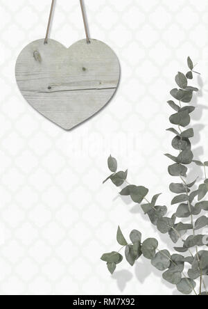 blank weathered wooden heart on wall with moroccan print wallpaper, with Eucalyptus cinerea, interior still life with copy space - Stock Image