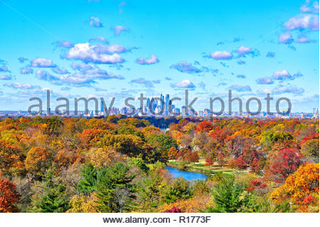 Center City Philadelphia in Fall Colors - Stock Image