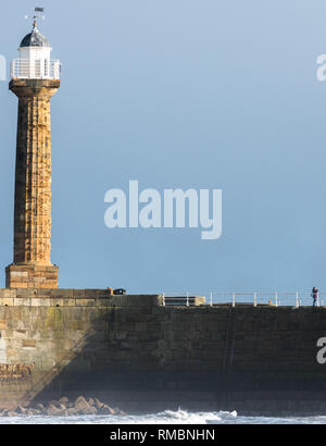 The Old Lighthouse at Whitby harbour on the North Yorkshire coast - Stock Image