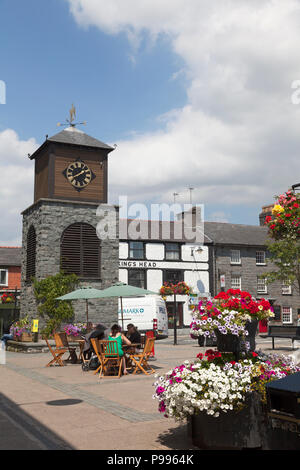 Clock tower in town centre, Llanrwst, Clwyd, Wales - Stock Image